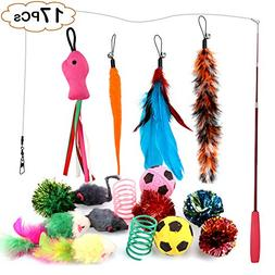 PetsParty 17 Pieces Cat Toys Interactive Retractable Teaser
