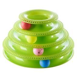 Pet Cat Interactive Crazy Balls Disk Trilaminar Tower Toy Tr