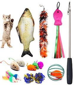 PETOY Cat Toys Set, Cat Retractable Teaser Wand, Catnip Fish