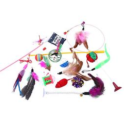 Cat Toys Variety Pack 15 pieces Feather Toys, Tease Wand, Ji