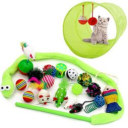 OFPUPPY Cat Toys Variety Pack Interactive - 2 Way Tunnel, Cr