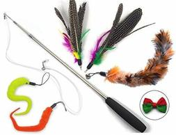 Cat Toys Wand Retractable Interactive Feather Teaser Cat Toy