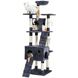 LANGRIA 68-Inch Cat Tree Hammock Multi Level Tall Tower 10 S