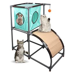 MyfatBOSS Cat Tree, Cat Furniture with Scratch Ramp, Cat Hou