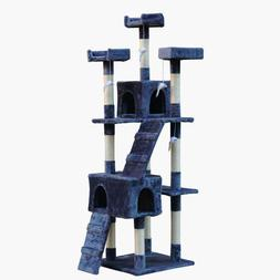 Cat Tree Grey Condo Furniture Kitten House Play Tower Kitty