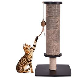 MD Group Cat Tree Scratcher Pads Black Tower Furniture Post