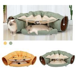 Cat Tunnel Bed Soft Plush Removable Toy Nest Mat Kitten Kitt
