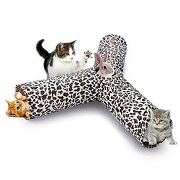 isYoung Cat Tunnel Play Tube, Collapsible 3 Way Play Toy wit