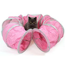 Yunt Cat Tunnels Toys Pink Foldable Tunnel Roll Toys Funny C