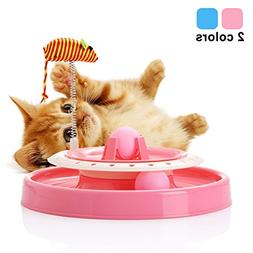 Cat Turntable Scratch Toys with Spring Mouse, Plastic Turbo