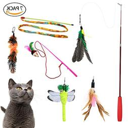 Fish&Fairy Cat Wand Catcher Toys Retractable Feather Teaser