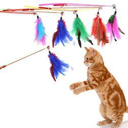 Jocestyle 5 Pcs Cat Wind Colorful Feather Cat Teaser Toy Sti