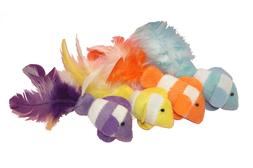 4.5 Inch Catnip Clown Fish with Feather Tails, Colors Vary