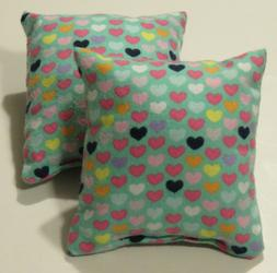 """Catnip pillows with Pretty Hearts -Handmade 5"""" flannel cat t"""