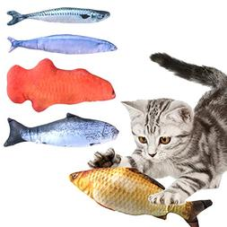 Catnip Toys Set Simulation Fluffy Fish for Cats 5 Breeds of