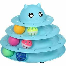 UPSKY Cat Toy Roller Cat Toys 3 Level Towers Tracks Roller w