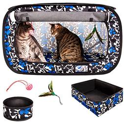 CheeringPet, Cat Travel Cage: Portable Pop Up Pet Crate with