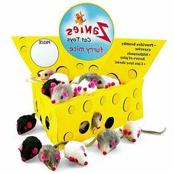 Pet Edge Zanies Cheese Wedge Display Box with 60 Furry Mice