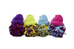Peeps Chick Fleece Ball Toy for Dogs, 4 count, Blue/Purple/P