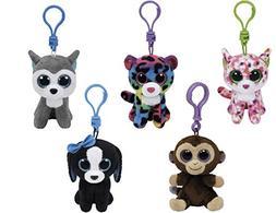 Bundle Set of 5 Clips Key Chain Plush Toys Black White Dog,