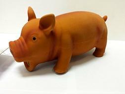 "Rascals Coastal Pet Latex Grunting Pig Dog Toy, 7.5"", Brown"