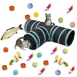 MEWTOGO Collapsible 3 Way Cat Tunnel Toys with Ball- 26 pcs