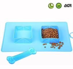 Collapsible Dog Bowl Set, Portable Food Water Double Bowls W