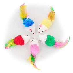 Dshengoo 10 PCS Colorful Fur Pet Cat Toys Mice Funny Rattle