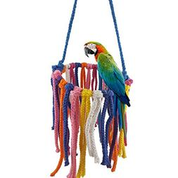 millet16zjh Colorful Pet Bird Toy Parrot Chew Hanging Swing