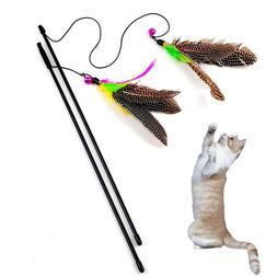 Colorful Pet Cat Teaser Toy Cute Bird Feather Plastic Wand I