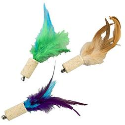 "Ethical Pets Cork with Feathers Bernet Cat Toy, 5"", Assorted"