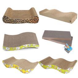 Corrugated Cardboard Cat Scratching Bed Pad Scratcher Toy wi