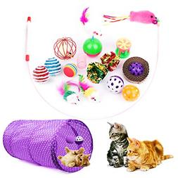 Cottia 16PCS Cat Toys Variety Pack - 2 Way Tunnel, Fluffy Mi