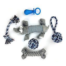 Link Echomaps 100% Natural Cotton Dog Chew Toys - 6 Pack Dur