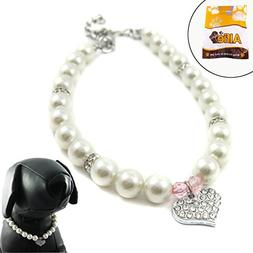 Alfie Couture Designer Pet Jewelry - Pinky Crystal Heart Pea