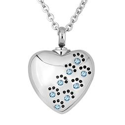 LuckyJewelry Cremation Pet Dog Paw Print Heart Urn Necklace