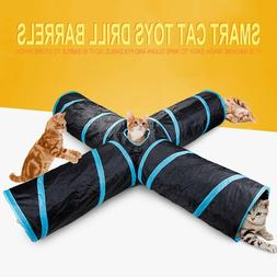 Crinkle Leopard Pet Cat Tunnel Collapsible Play Tubes Toys K