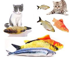 Cute 3D Cat Toys Simulation Plush Fish Pets Stuffed Pillow F