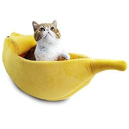 PET GROW Cute Banana Cat Bed House, Pet Bed Soft Cat Cuddle