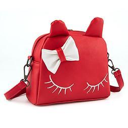 Pinky Family Cute Cat Ear Kids Handbags Crossbody Bags PU Le