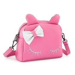 Pinky Family Cute Cat Ear Kids Handbags Candy Color Crossbod