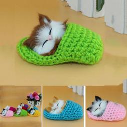 Cute Cat Kitten Sleep Slipper Plush Doll Toys Stuffed Baby K