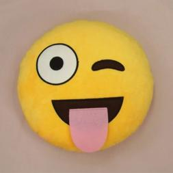 Cute Emoji Emoticon Yellow Round Cushion Pillow Stuffed Plus