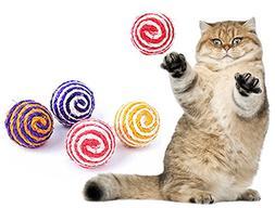 Zeroyoyo 4PCS Cute Funny Cat Kids Toys Sisal Rope Balls Rand