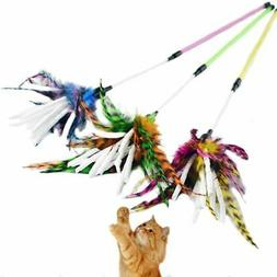 Cute Pet Cat Teaser Turkey Feather Interactive Stick Toy Fun