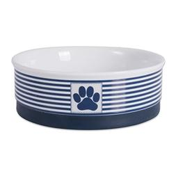 Bone Dry DII Paw Patch & Stripes Ceramic Pet Bowl for Food &