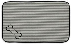 Bone Dry DII Stripe Embroidered Paw Print Pet Mat for Food,
