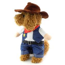 SELMAI Dog Cat Cowboy Costume, Dog Costume Carrying West Cow