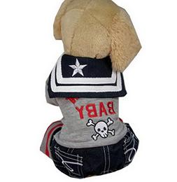 Ranphy Small Dog/Cat Male Embroidery Shirt Sailor Collar Jum