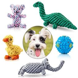 Felicificer Dog Chew Toys, Cotton Rope Animal Design with Fu